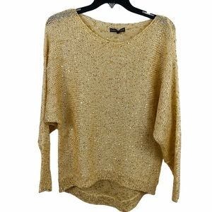 Dolce Cabo Gold Sequin sparkle sweater size small